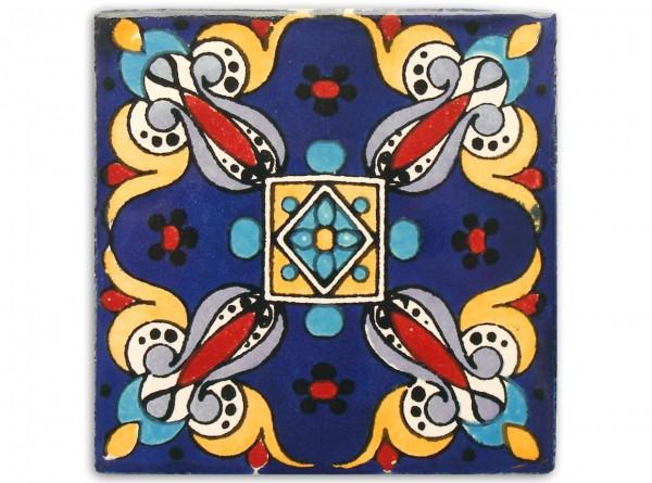 "Fliese ""Arely Azul"", handbemalt, ca. 10x10cm, Mexiko"