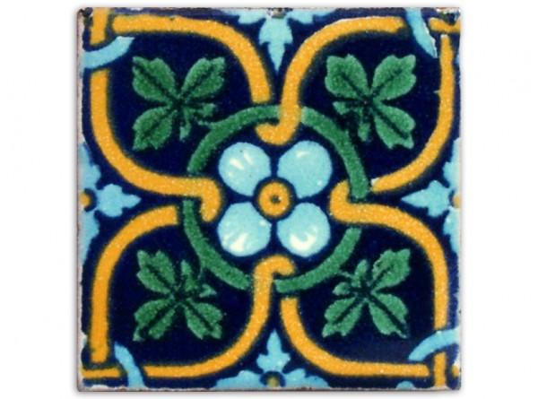 Dünne Serie: Fliese handbemalt, ca. 5x5cm, Flor de maple klein