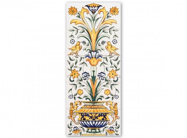 """Spanisches Fliesenbild """"Vase und Ornament klein"""", 100x40 cm"""