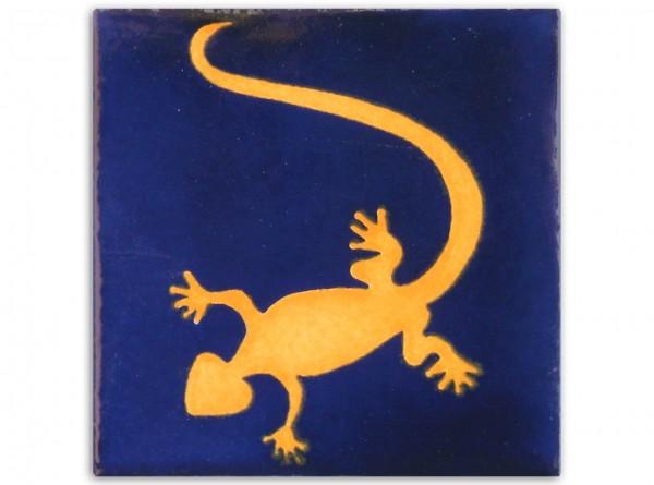 "Fliese ""Gecko Blau"", handbemalt, ca. 10x10cm, Mexiko"