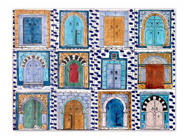 """Tunesisches Fliesenbild """"Türmotive blauer Rand"""", 60x45 cm"""