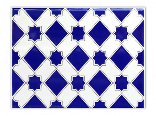 "Spanische Wandfliese ""Zocalo Estrella Azul M-13"", 15x20 cm"