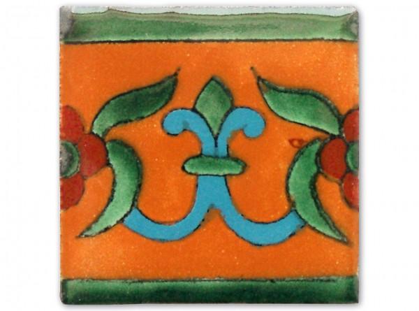 Dünne Serie: Bordürenfliese handbemalt, ca. 5x5cm, Lilia Mango
