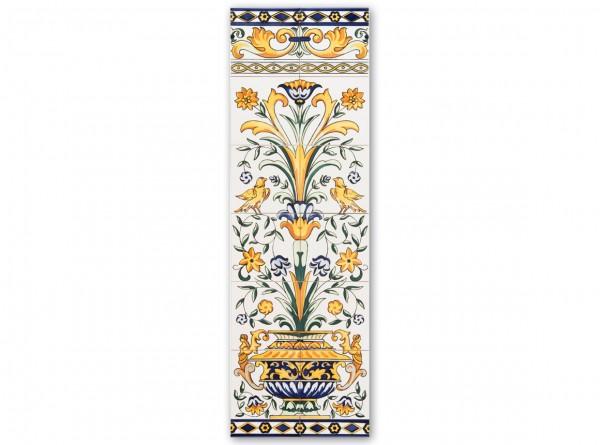 """Spanisches Fliesenbild """"Vase und Ornament"""", 125x40 cm"""
