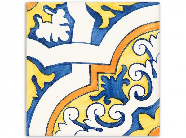 "Dekorfliese ""Castelo Melhor"", Handbemalt, 14 x 14 cm"