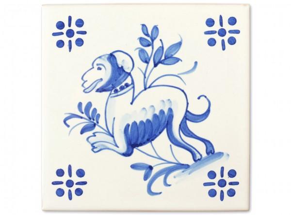 """Motivfliese """"Hund"""" zur Dekorfliese """"Braga"""", Handbemalt, 14x14 cm"""