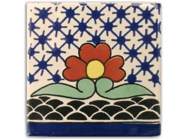 "Fliese ""Flora Esp."", handbemalt, ca. 10x10cm, Mexiko"