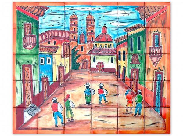Mexikanische Fliesenbild, handbemalt, Motiv Dorfplatz, ca. 63x53cm, Rand mangofarben