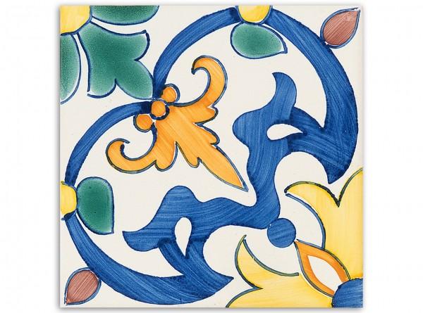 "Dekorfliese ""Porto"", Handbemalt, 14x14 cm"