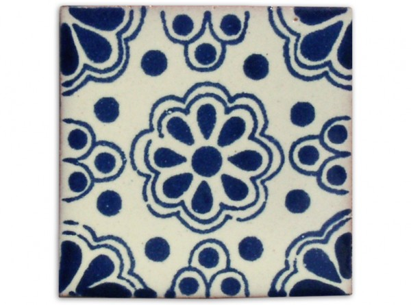 Dünne Serie: Fliese handbemalt, ca. 5x5cm, Lace azul klein