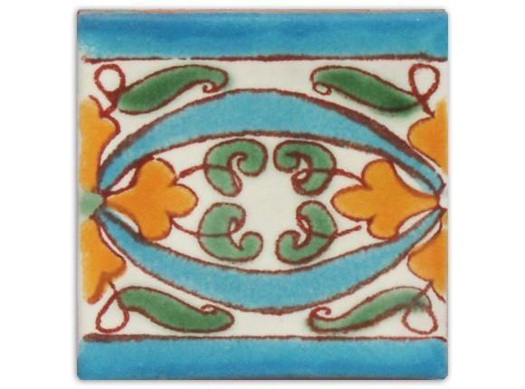 Dünne Serie: Bordürenfliese handbemalt, ca. 5x5cm, Cenefa turqueza