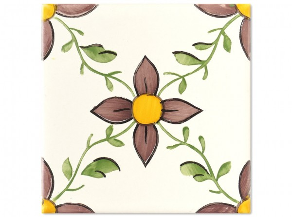 "Dekorfliese ""Amadora"", Handbemalt, 14 x 14 cm"