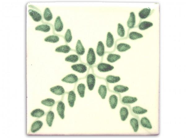 "Fliese ""Arbor Verde"", handbemalt, ca. 10x10cm, Mexiko"