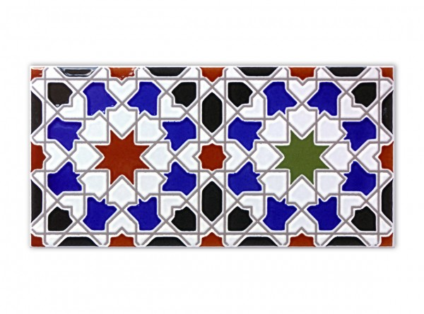 "Spanische Wandfliese ""Zocalo Aixa"", 14x28 cm"