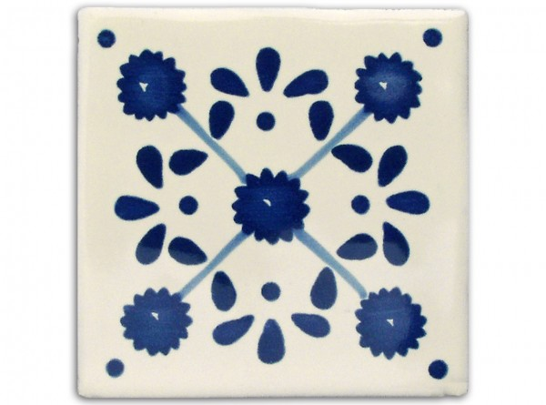 "Fliese ""Margarite"", handbemalt, ca. 10x10cm, Mexiko"