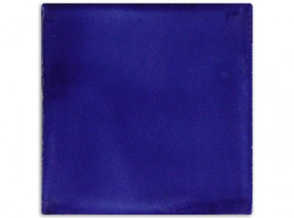 """Mexikanische Fliese, handbemalt, einfarbig """"Königsblau"""" ca. 10x10cm"""